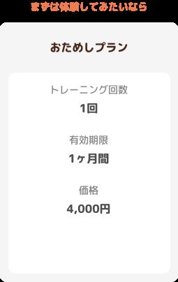【お試しプラン】トレーニング回数:1回 有効期限:1ヶ月 価格:4000円
